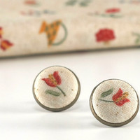 Stud Earrings - Red Tulips Earring Studs - From My Baltimore Album - Yellow and Green Flowers on Beige Fabric Buttons Jewelry