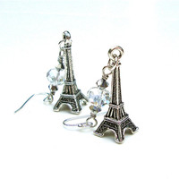 Long dangly silver Eiffel Tower earrings - Paris inspired shimmery clear crystal and silver earrings by Sparkle City Jewelry
