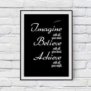 Workout Poster, Workout, Fitness and Wieght Loss Motivation, Imagine Believe Achieve, Motivational Quote Typographic Poster Digital Download