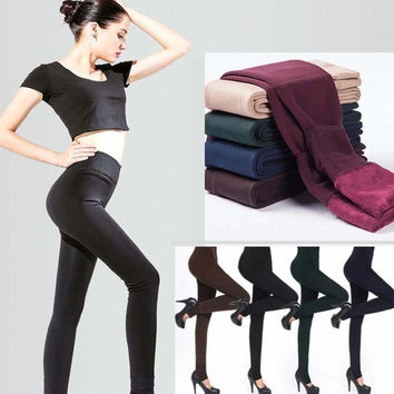 DN Women's Fashion Winter Warm Tights Brushed Stretch Fleece-Lined Thick Leggings = 1946263236