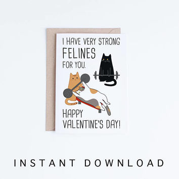 printable Valentine day cards, Funny Valentine's Day Black Cat Card, Funny Weight Lifting Cats Valentine Cards, For Him, Felines, Punny