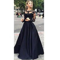 hirigin Women Dress Sexy Embroidery Lace black two-piece Long Sleeve O-neck Vintage Christmas Party Prom Gown Cocktail  Dress