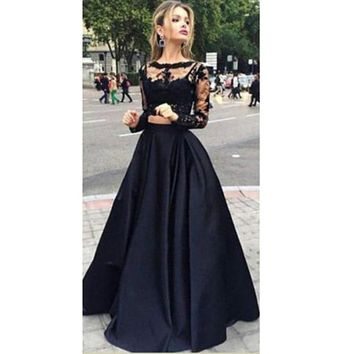hirigin Sexy Women  Vintage Lace black two-piece Long Sleeve O neck Dress Christmas Party Prom Gown Cocktail Long Dress