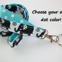 Lanyard  ID Badge Holder - Lobster clasp and key ring - design your own black elephants white polka dots aqua two toned double sided
