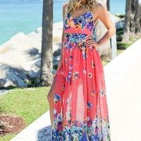 Coral Floral Maxi Dress with Side Slit