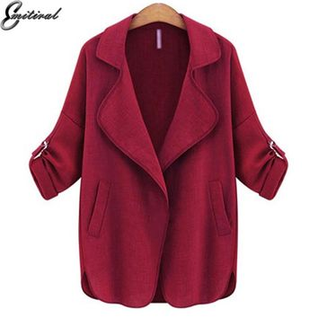 EMITIRAL Fashion Jacket Women Kimono Cardigan Thin Cotton Elegant Plus Size Clothing 5XL Wine Black Green Causal Loose Female