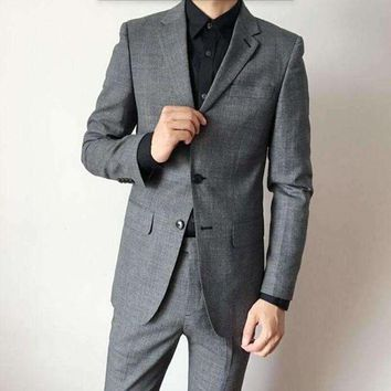 DCCKON3 Latest design men suits gray wool blended wedding suits tuxedos elegant handsome groom groomsman dress suits(jacket+pants)