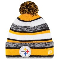 Mens Pittsburgh Steelers New Era Gold On-Field Sport Sideline Cuffed Knit Hat