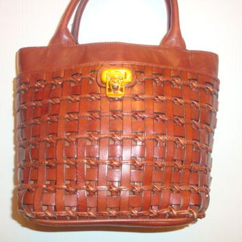 vintage ETIENNE AIGNER brown woven leather satchel bAG Purse handbag