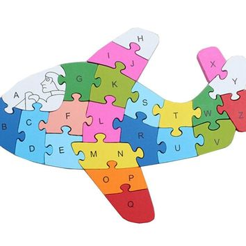 Funny Digital & Letter Wooden Blocks Puzzles Educational Puzzle Airplane