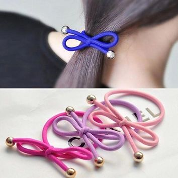 ONETOW 5Pcs/Bag Bowknot Gold Plated Beads Hair Holders Elastics 2015 New 12 Colours Women Rubber Bands  Girl's Tie Gum Hair Accessories