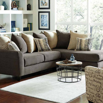 Charcoal Gray Couch with Chaise | Corey Two Piece Sectional Sofa | American Freight