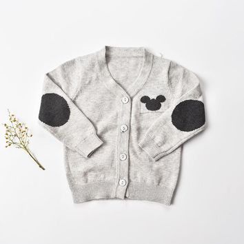 Baby boys sweaters for kids sweater 2017  Baby clothes knit sweat shirts cotton toddler Cardigans O-NECK infantil 9M-24M