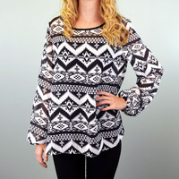 SZ SMALL Wolf River Black & White Tribal Top