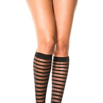 Black Sheer Stripe Gothic Knee Highs