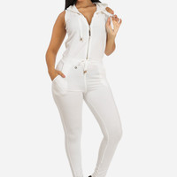 Hooded Athletic Jumpsuit With Gold Zipper (White)
