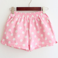 Pink Elastic Waist Polka Dot Denim Shorts