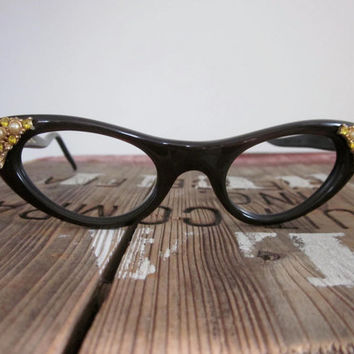 Christian Dior / Dior / Dior Eyeglass Frames / Cateye Glasses / 50s / Mad Men Glasses / Librarian / Designer / Rare / Jeweled
