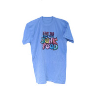 Funny 70's T-shirt I Got This Body With Junk Food - Glitter Iron On 1979 T-shirt
