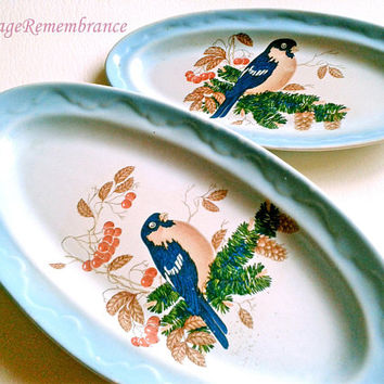 Bird Small Platter Oval Plate Vintage Ceramic Dish Porcelain Faience USSR Crockery Tableware Kitchen Decor Made in USSR 1970s Set of 2