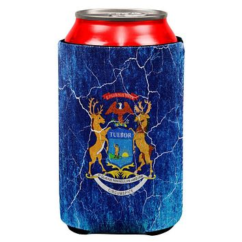 Michigan Vintage Distressed State Flag All Over Can Cooler