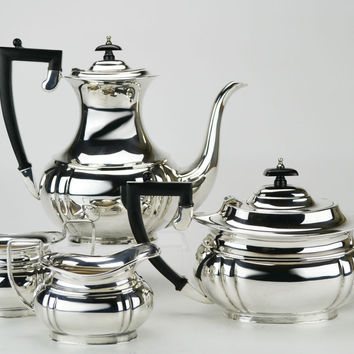 4 Piece Silver Plated Tea and Coffee Set Spear & Jackson Vintage English 1930s