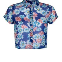 New Look Mobile | Teens Blue Floral Crop Short Sleeve Shirt