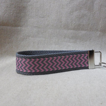 Keychain Wristlet Made With Pink and Gray Chevron Ribbon