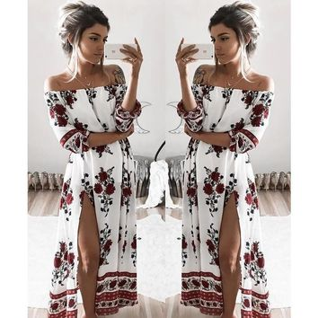 Fashion  Retro Flower Print Off Shoulder Hem Split Middle Sleeve Loose Maxi Dress
