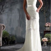 [257.39] Lovely Over Lace & Satin Sheath Square Neckline Natural Waist Cap Sleeve Wedding Dress - Dressilyme.com