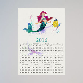 The Little Mermaid Ariel Disney Calendar Personalized 2016 Princess Watercolor Picture Print Save the date gift New Year Birthday present