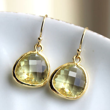 Citrine Earrings Gold - Glass Yellow Earrings - Bridesmaid Earrings - Bridal Earrings - Wedding Earrings