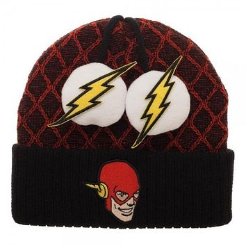 Flash Lightning Bolt Pom Beanie