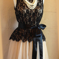 Gorgeous party dress, prom dress, formal dress, bridesmaid dress, feminine dress, celebrity dress, Champagne black lace dress, evening dress