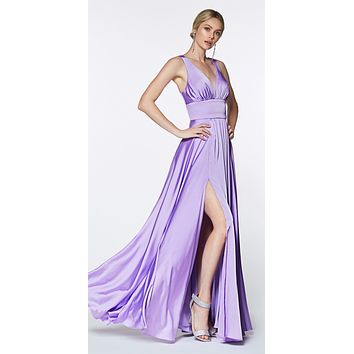 Cinderella Divine 7469 Sexy Long Prom Dress Lavender Evening Satin Gown