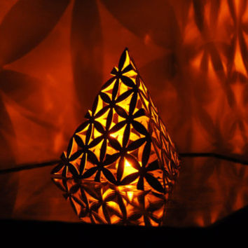 Flower of Life Tetrahedron Candle Lamp / Sculpture