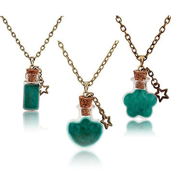 """""""Flash Deal"""" A Set of 3 JewelCool Magic Fire Fairy Angel Dust in a Glass Bottle, 3 Different Shapes Aqua Blue Glow in the Dark Pendant Necklace Set, Jewelry Box and Four Greeting Cards Included"""