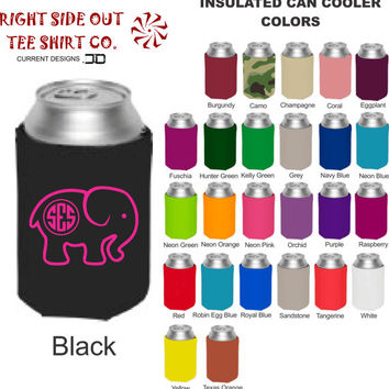 Elephant Monogram Insulated Can Cooler