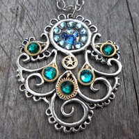Clockpunk Steampunk Pendant Necklace, Gears & Swarovski Crystals Silver Plate Peacock Feather on Silver Chain