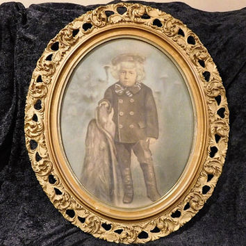 Antique Watercolor and Gouache Painting Art Civil War Era Child Portrait Full Length Profile Mid 1800s Ornate Gesso Carved Wooden Oval Frame