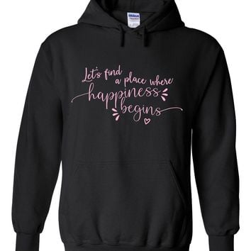 """Jonas Brothers """"Let's find a place where Happiness Begins"""" Hoodie Sweatshirt"""