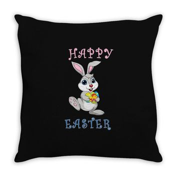 Bunny Happy Easter Throw Pillow