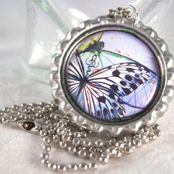 Abstract Butterfly Bottle Cap Necklace Picture Image Pendant Fashion Jewelry