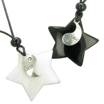 Lucky Best Friends Ying Yang White Snowflake Quartz Black Agate Star Friendship Pendant Necklaces