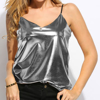Liquid Metal Cami Top - Silver or Gold
