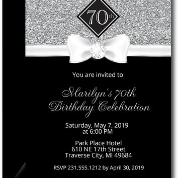 Silver Formal Adult Birthday Invitations