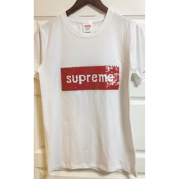 Supreme Turn Sequins Woman Men Fashion Tunic Shirt Top Blouse