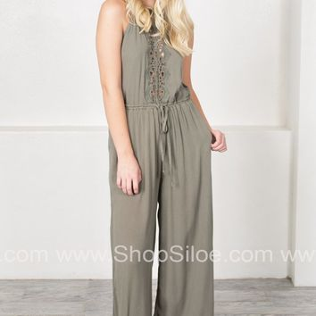 Lace Trimmed Olive Jumpsuit