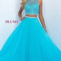 Long Two Piece Illusion Sweetheart Prom Dress by Blush