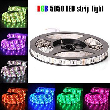 12V Flexible SMD 5050 RGB LED Strip Lights, LED Tape, Multi-colors, 300 LEDs, Non-waterproof, Light Strips, Color Changing, Pack of 16.4ft/5m Strips